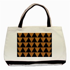 Triangle2 Black Marble & Light Maple Wood Basic Tote Bag (two Sides) by trendistuff