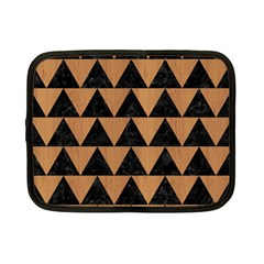 Triangle2 Black Marble & Light Maple Wood Netbook Case (small)  by trendistuff