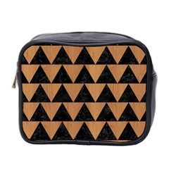 Triangle2 Black Marble & Light Maple Wood Mini Toiletries Bag 2 Side by trendistuff