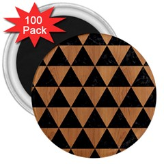 Triangle3 Black Marble & Light Maple Wood 3  Magnets (100 Pack) by trendistuff