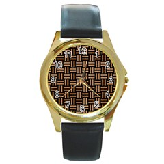 Woven1 Black Marble & Light Maple Wood Round Gold Metal Watch by trendistuff