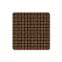 Woven1 Black Marble & Light Maple Wood Square Magnet by trendistuff