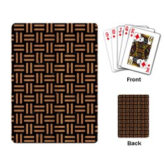 Woven1 Black Marble & Light Maple Wood Playing Card by trendistuff