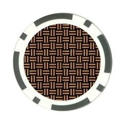 Woven1 Black Marble & Light Maple Wood Poker Chip Card Guard by trendistuff