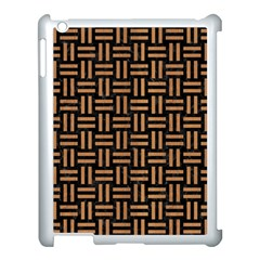 Woven1 Black Marble & Light Maple Wood Apple Ipad 3/4 Case (white) by trendistuff