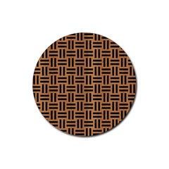 Woven1 Black Marble & Light Maple Wood (r) Rubber Coaster (round)  by trendistuff