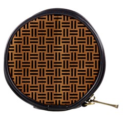 Woven1 Black Marble & Light Maple Wood (r) Mini Makeup Bags
