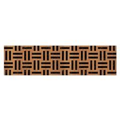 Woven1 Black Marble & Light Maple Wood (r) Satin Scarf (oblong) by trendistuff