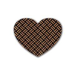 Woven2 Black Marble & Light Maple Wood Rubber Coaster (heart)  by trendistuff