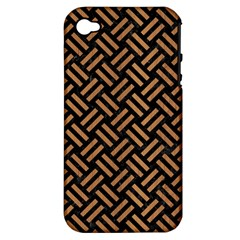 Woven2 Black Marble & Light Maple Wood Apple Iphone 4/4s Hardshell Case (pc+silicone) by trendistuff