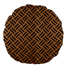 Woven2 Black Marble & Light Maple Wood (r) Large 18  Premium Round Cushions by trendistuff