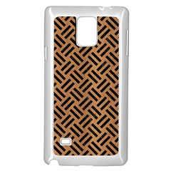 Woven2 Black Marble & Light Maple Wood (r) Samsung Galaxy Note 4 Case (white) by trendistuff