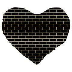 Brick1 Black Marble & Light Sand Large 19  Premium Heart Shape Cushions by trendistuff
