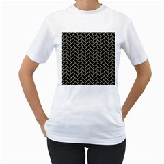 Brick2 Black Marble & Light Sand Women s T Shirt (white) (two Sided) by trendistuff