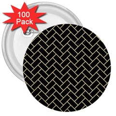Brick2 Black Marble & Light Sand 3  Buttons (100 Pack)  by trendistuff