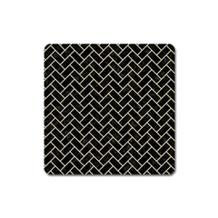 Brick2 Black Marble & Light Sand Square Magnet by trendistuff