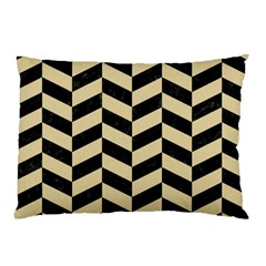 Chevron1 Black Marble & Light Sand Pillow Case by trendistuff