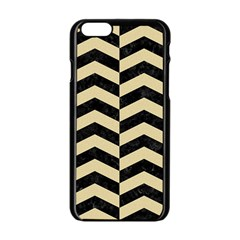 Chevron2 Black Marble & Light Sand Apple Iphone 6/6s Black Enamel Case
