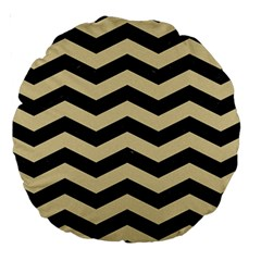 Chevron3 Black Marble & Light Sand Large 18  Premium Round Cushions by trendistuff