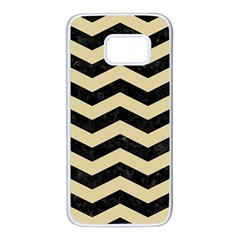 Chevron3 Black Marble & Light Sand Samsung Galaxy S7 White Seamless Case by trendistuff