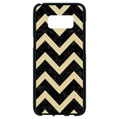 Chevron9 Black Marble & Light Sand Samsung Galaxy S8 Black Seamless Case by trendistuff