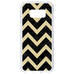 Chevron9 Black Marble & Light Sand Samsung Galaxy S8 White Seamless Case by trendistuff