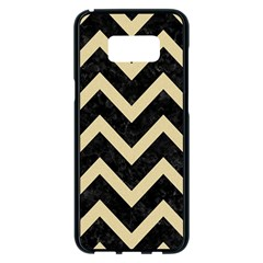 Chevron9 Black Marble & Light Sand Samsung Galaxy S8 Plus Black Seamless Case by trendistuff