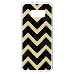 Chevron9 Black Marble & Light Sand Samsung Galaxy S8 Plus White Seamless Case by trendistuff