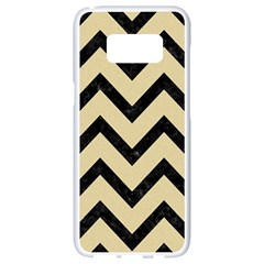 Chevron9 Black Marble & Light Sand (r) Samsung Galaxy S8 White Seamless Case by trendistuff