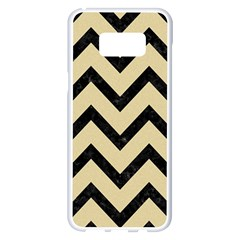 Chevron9 Black Marble & Light Sand (r) Samsung Galaxy S8 Plus White Seamless Case by trendistuff