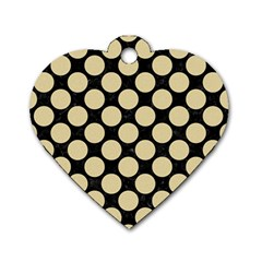 Circles2 Black Marble & Light Sand Dog Tag Heart (two Sides) by trendistuff