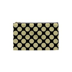 Circles2 Black Marble & Light Sand Cosmetic Bag (small)  by trendistuff