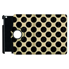 Circles2 Black Marble & Light Sand (r) Apple Ipad 3/4 Flip 360 Case by trendistuff