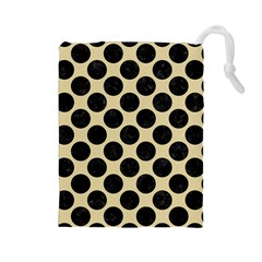 Circles2 Black Marble & Light Sand (r) Drawstring Pouches (large)  by trendistuff