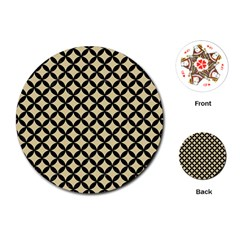 Circles3 Black Marble & Light Sand (r) Playing Cards (round)  by trendistuff