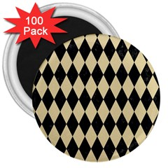 Diamond1 Black Marble & Light Sand 3  Magnets (100 Pack) by trendistuff