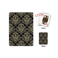 Damask1 Black Marble & Light Sand Playing Cards (mini)  by trendistuff