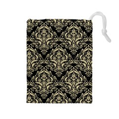 Damask1 Black Marble & Light Sand Drawstring Pouches (large)  by trendistuff
