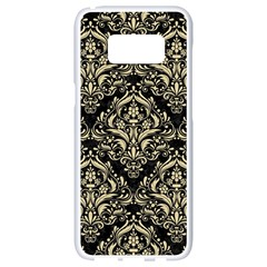 Damask1 Black Marble & Light Sand Samsung Galaxy S8 White Seamless Case by trendistuff