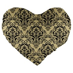 Damask1 Black Marble & Light Sand (r) Large 19  Premium Heart Shape Cushions by trendistuff