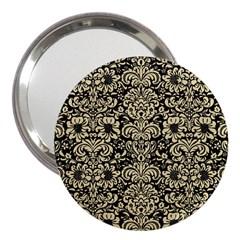 Damask2 Black Marble & Light Sand 3  Handbag Mirrors by trendistuff