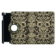 Damask2 Black Marble & Light Sand Apple Ipad 3/4 Flip 360 Case by trendistuff