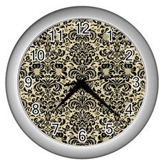 Damask2 Black Marble & Light Sand (r) Wall Clocks (silver)  by trendistuff