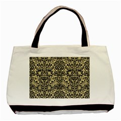 Damask2 Black Marble & Light Sand (r) Basic Tote Bag (two Sides) by trendistuff