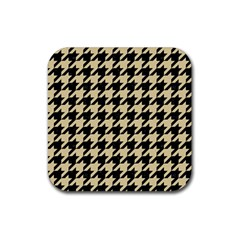Houndstooth1 Black Marble & Light Sand Rubber Square Coaster (4 Pack)  by trendistuff