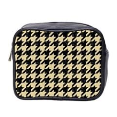 Houndstooth1 Black Marble & Light Sand Mini Toiletries Bag 2 Side by trendistuff