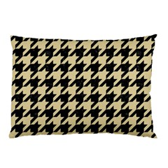 Houndstooth1 Black Marble & Light Sand Pillow Case (two Sides) by trendistuff