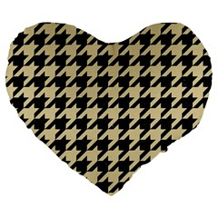 Houndstooth1 Black Marble & Light Sand Large 19  Premium Heart Shape Cushions by trendistuff