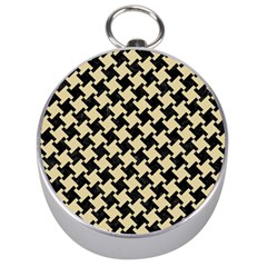 Houndstooth2 Black Marble & Light Sand Silver Compasses by trendistuff