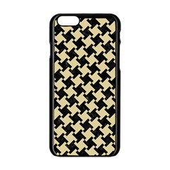 Houndstooth2 Black Marble & Light Sand Apple Iphone 6/6s Black Enamel Case
